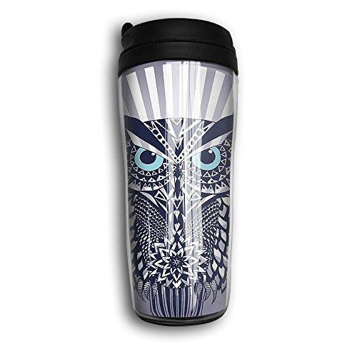 Tumbler Travel Mug Owl Art Novelty Food Grade ABS Mug Double Walled Both Cold & Hot Coffee Car Mug For Home Outdoor With Black Lid 12 Oz (350 Ml)