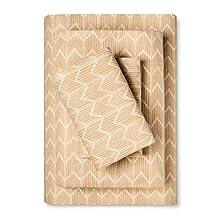100% Cotton Flannel Sheet Set Golden Chevron (Twin)