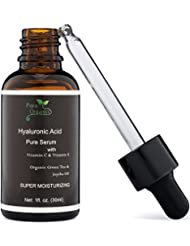 Petra Organics Hyaluronic Acid Serum for Skin with Vitamin C & E - Pure, Natural and 72% Organic Face Serum - Anti Aging Moisturizer - Anti Wrinkle Serum - Organic Moisturizer - Hydrating Serum
