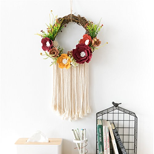 Ornament Wreath Wall Hanging (RISEON BOHO Handmade Felt Flower Tassel Dream Catcher Wall Hanging Decoration Macrame Fringe Wreath Dreamcatcher Boho Home Decor Ornament Gift)