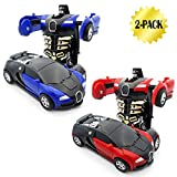 WOCY Toy Cars for Kids Vehicles 2-Packs 1-Step Deformation Car Robot Deformation Car Model Toy for Children, Kids and Toddlers (Blue and Red)