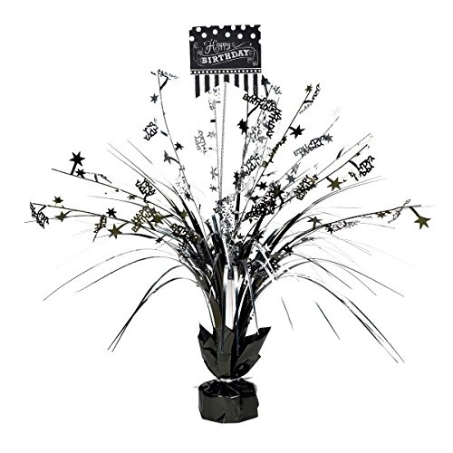 Amscan Classic Black and White Birthday Party Spray Table Centerpiece Decoration, Multi, 18'' Childrens (6 Piece) by Amscan (Image #1)