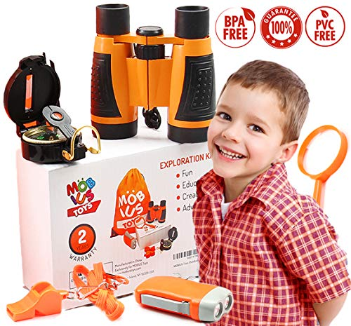 Outdoor Explorer Kit for Toddlers & Kids - Backyard Adventure Safari Kit Playset for Boys and Girls, Educational Camping Gear Gift Set Present with Toy Binoculars, Magnifying Glass, Backpack