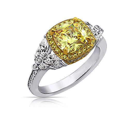 Diamonbliss Sterling Silver Canary and Clear Cubic Zirconia Framed Cushion 4.40 cttw Ring with FancyGallery, Size 5