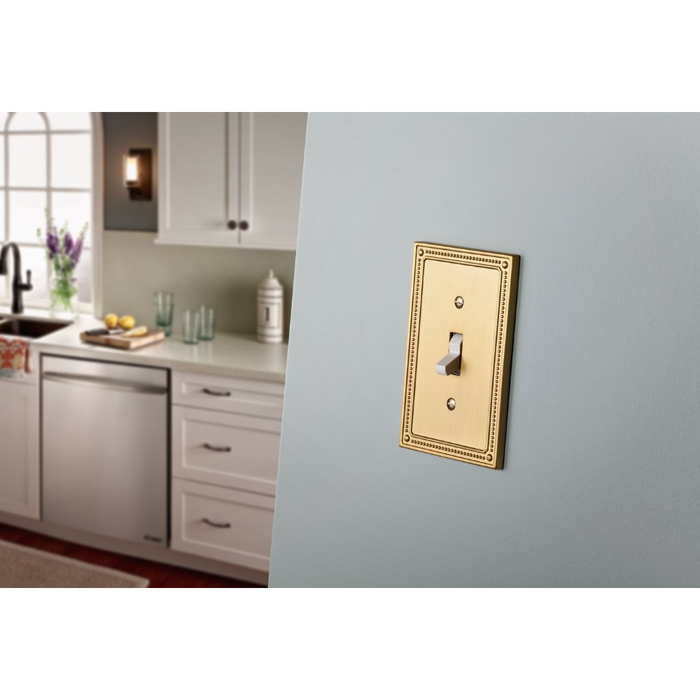 Franklin Brass W35060-BB-C Classic Beaded Single Decorator Wall Plate/Switch Plate/Cover, Brushed Brass by Franklin Brass (Image #2)