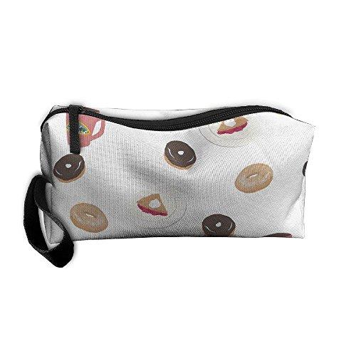 Mr.Roadman Coin Pouch Coffee Cake Doughnut Art Pencil Holder Clutch Wristlet Wallets Purse Portable Storage Case Zipper Makeup Cosmetic Bags ()
