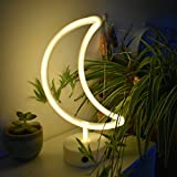 Led Neon Light, Moon Lights Sign Battery/USB Operated for Birthday Party Wedding Bedroom Decorations Marquee Decor with Holder Base