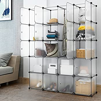 LANGRIA 20 Cubby Shelving Closet System Cube Organizer Plastic Storage  Cubes Drawer Unit, DIY Modular Bookcase Cabinet With Translucent Design For  Clothes, ...