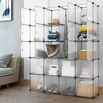 LANGRIA 20 Cube Organizer Cubby Shelving Plastic Storage Cubes Drawer Unit,  DIY Modular Bookcase Closet