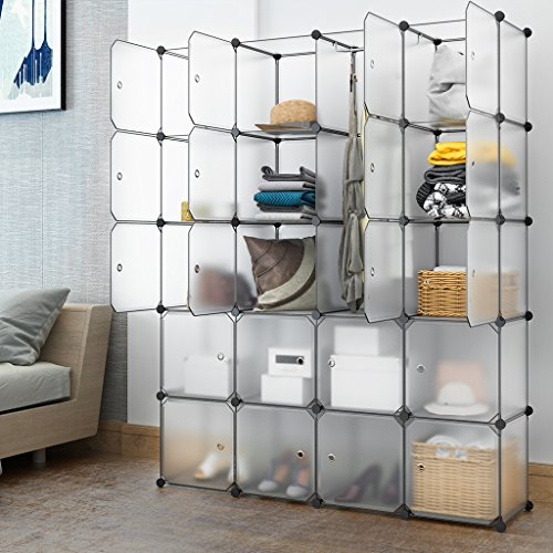 LANGRIA 20 Cubby Shelving Closet System Cube Organizer Plastic Storage Cubes Drawer Unit, DIY Modular Bookcase Cabinet with Translucent Design for Clothes, Shoes, Toys (White) - Storage Unit Assembly