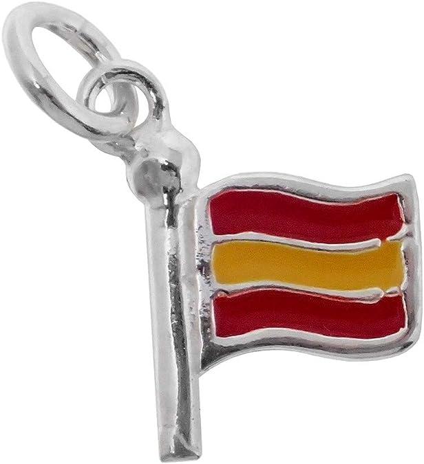 Colgante plata Ley 925m bandera España 15mm. esmaltada color: Amazon.es: Joyería