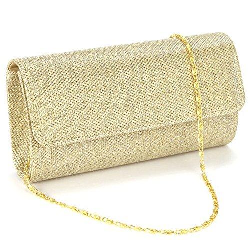 Jubileens Women's Evening Party Wedding Ball Prom Clutch Wallet Handbag (Gold)