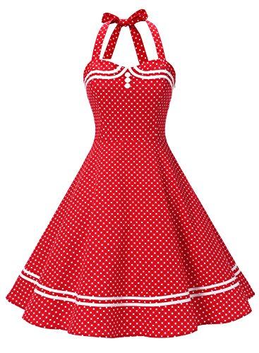 Timormode Vestido Cóctel Corto Vintage 50s Cuello Halter Vestido De Fiesta Rockabilly Mujer Red Dot