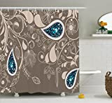 Teal Shower Curtain Ambesonne Paisley Shower Curtain Decor by, Oriental Paisley Motifs with Swirled Branch and Flower Pattern Ethnic Bohemian Art, Polyester Fabric Bathroom Shower Curtain Set with Hooks, Pale Brown Teal