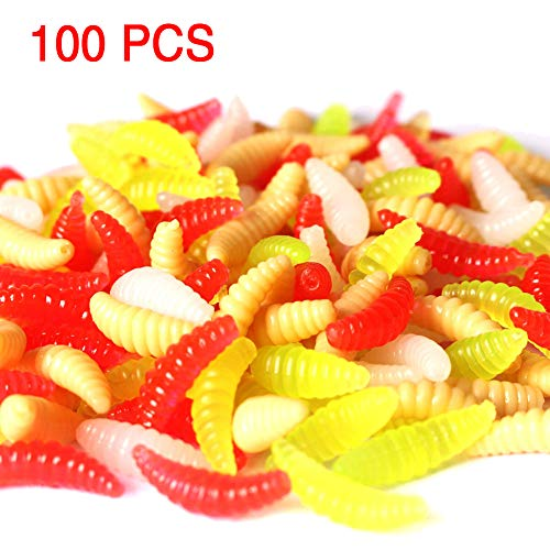 Artificial Bee Moth Silicone Larva Soft Plastic Fishing Wax Insect Wiggler Glow Maggot Grub Bait Pack 100 ()