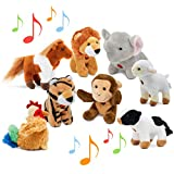 Animal Toys Set with Sound (Set of 8) | Jungle & Farm Talking Animals | Cow, Horse, Sheep, Rooster,...