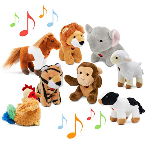 Animal Toys Set with Sound (Set of 8) | Jungle & Farm Talking Animals | Cow, Horse, Sheep, Rooster, Monkey, Lion, Tiger & Elephant Plush Toys for Boys & Girls