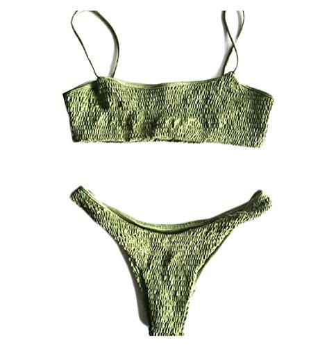 Cruiize Womens Triangle Sexy Ruched Bright Diving Beach Bikini Set Green (Old Navy Maternity Swimwear)
