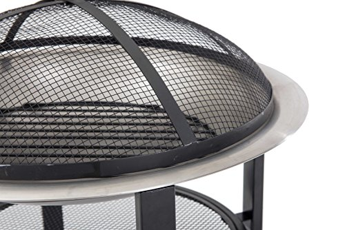 Sunjoy 26'' Verde Stainless Steel Fire Pit - Pewter finish Dome fire screen with high heat resistant paint Screen lift tool and wood grate included - patio, outdoor-decor, fire-pits-outdoor-fireplaces - 51aQfMyZj%2BL -