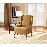 Sure Fit Stretch Pique Knit  - Wing Chair Slipcover  - Antique (SF34441)