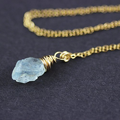 Aqua Blue Gem - Raw Blue Aquamarine Gemstone Necklace - 18