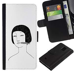 All Phone Most Case / Oferta Especial Cáscara Funda de cuero Monedero Cubierta de proteccion Caso / Wallet Case for Samsung Galaxy S5 Mini, SM-G800 // Retrato asiático niña dibujo negro blanco