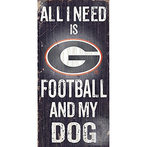 NCAA Official Fan Shop Authentic Wooden Signs Foot and Dog (Georgia Bulldogs - Football and Dog) ()
