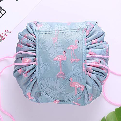 Casual Waterproof Women Toiletry Bags Folding Large Capacity Lazy Cosmetic Bags (Flamingo)