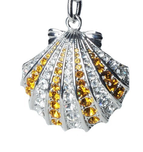 - Lilly Rocket Topaz and Clear Striped Rhinestone Oyster Shell Key Chain with Swarovski Crystals