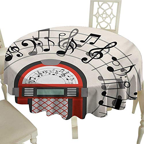(Camping Round Tablecloth 36 Inch Jukebox,Cartoon Antique Old Vintage Radio Music Box Party with Notes Artwork,Black White Grey and Red Great for,restauran & More)