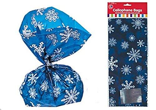 (144 Blue Snowflake Cellophane GOODY Bags (12 Dozen)---- with twist ties included)