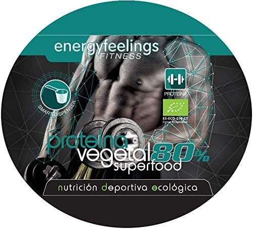 Energy Feelings Proteina Vegana 80% Premium - 1 Kg | rica en BCAA | ingredientes de máxima calidad | 100% ecológica