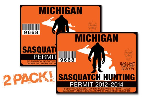 Michigan-SASQUATCH HUNTING PERMIT LICENSE TAG DECAL TRUCK POLARIS RZR JEEP WRANGLER STICKER 2-PACK!-MI
