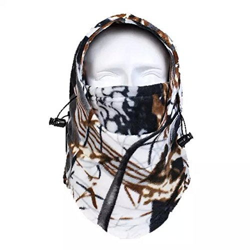 Ezyoutdoor Bush Hat Warm Jungle Camouflage Fleece thermal Camo Hat Windproof Fleece Hat Jungle Camouflage Full Face Mask,Hunting Biomimicry thermal Camo Face Mask(random color)