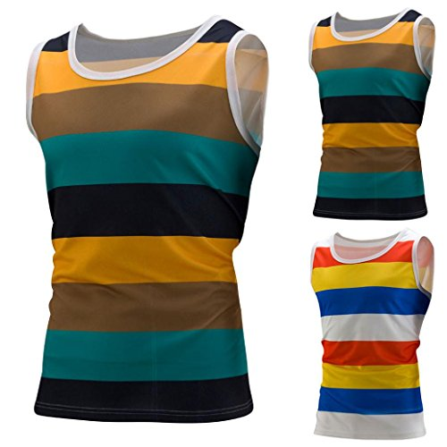 Blouse, Han Shi Mens Fashion Stripe Tank Vests Sleeveless Gym Sports Shirt Waistcoat