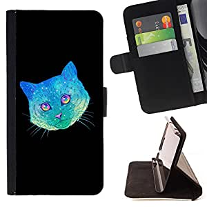 - Cat Space - - Caja de la carpeta del tirš®n del cuero de la PU [con ranuras para tarjetas y cierre de solapa magnšŠtica] Pš¢rese cubierta de la caja FOR Samsung Galaxy S5 V SM-G900 G9009 G9008V Skull Market