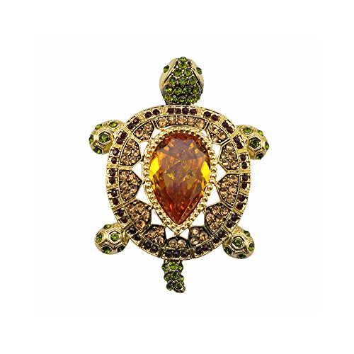 (TTjewelry Luxury Vintage Turtle Animal Pendant Brooch Pin Zircon Crystal Brown Tortoise)