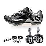 KUKOME Men Women Mountain Bike Cycling Shoes and Pedals (Silver-Black + Black,US11/EU44/Ft28cm)