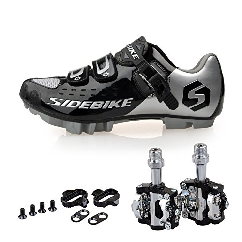 ntain Bike Cycling Shoes and Pedals (Silver-Black + Black,US11/EU44/Ft28cm) ()