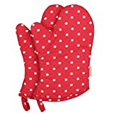 Neoviva Cotton Coated Oven Mitt Set for Child, Polka Dots Lollipop Red
