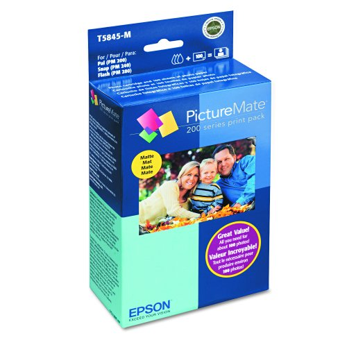 - Epson T5845-M PictureMate Print Pack Includes Inkjet Cartridge, 100 Sheets Matte Photo Paper