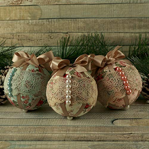 shabby chic christmas ornaments hanging tree decorations xmas bauble set decorative fabric ball