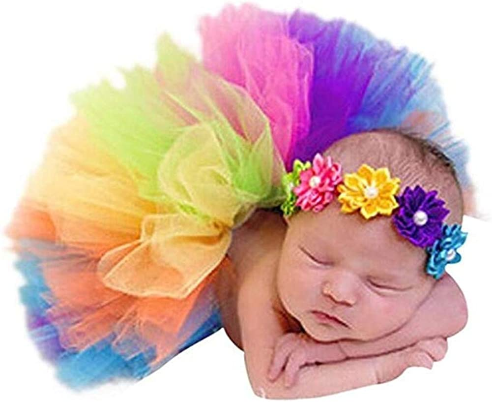 Newborn Baby Kid Girl Flower Headband+Tutu Skirt Photo Costume Beautiful Cute