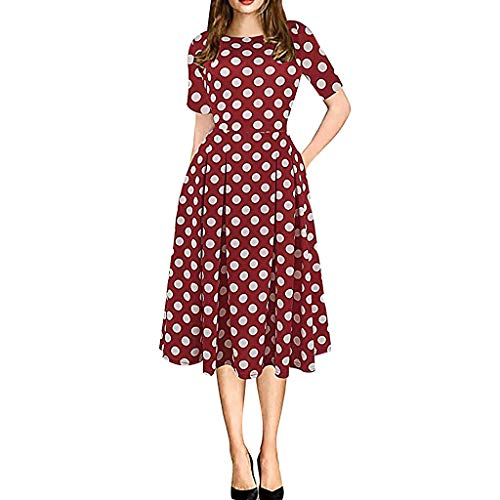 Sunhusing Womens Vintage Round Neck Flower Print Splicing Tutu Dress Casual Party Pocket Patchwork Mini Dress Red]()