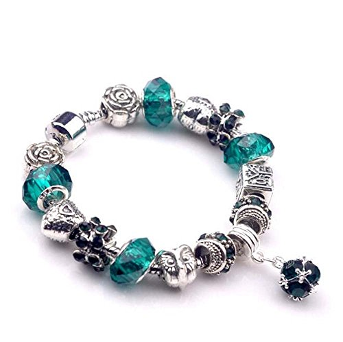 The Starry Night Owal and Rose Flower Silver Green Geometric Round Pendant Crystal Beaded Love - Robe Potter Diy Harry