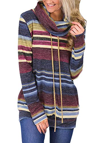 dingshou store Women's Cowl Neck Sweatshirt Striped Loose Long Sleeve Top Hoodie Pullover Sweatshirt with Pockets 100092 Blue-L