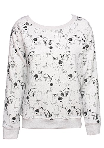 Ribbon Trim Sweater (Sidecca Printed Graphic Long Sleeve Pullover Sweater Sweatshirt (Heather Grey (Cats), Small))
