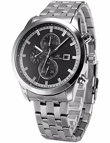 KS Men's KS201 Analog Silver Steel Band Day Date Month Display Automatic Mechanical Watch