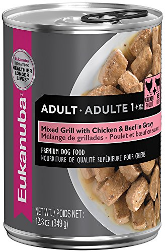 EUKANUBA Adult Mixed Grill with Chicken and Beef in Gravy Canned Dog Food 12.3 Ounces  (Pack of 12) by Eukanuba
