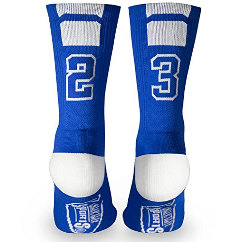 Custom Team Number Crew Socks | Athletic Socks by ChalkTalkSPORTS | Blue | 23